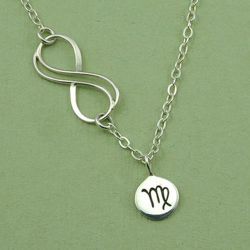 Infinity Zodiac Necklace -  Aries -Taurus - Gemini - Cancer - Leo - Virgo - Libra - Scorpio - Sagittarius - Capricorn - Aquarius - Pices