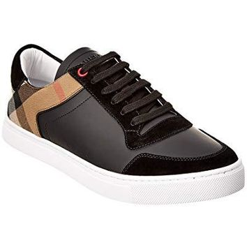 BURBERRY Leather & House Check Low-Top Trainer, 42, Black