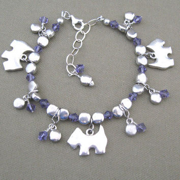 Scottie Dog Charm Bracelet Purple Crystals by ChickenLittleJewelry