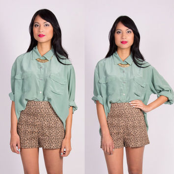 Vintage Mint Green SILK Blouse One Size Fits by La petite Marmoset