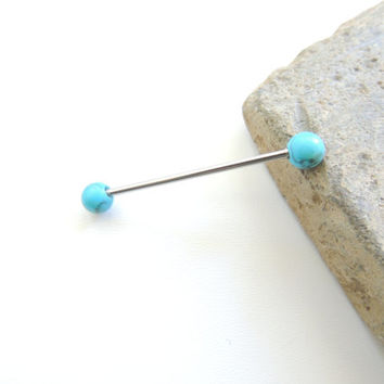 Turquoise Industrial Barbell - You Choose Length, Turquoise Stone Barbell, Cartilage Earring, 14g 14 Gauge Piercing Barbell, Turquoise. 756