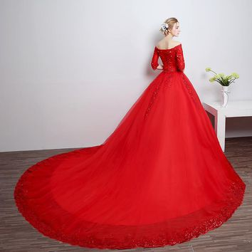 Luxurious Lace Royal Train Red Wedding Dress Lace Wedding Gown Wedding Dresses