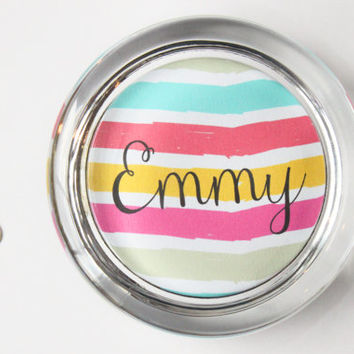 Custom Paperweight Personalized Gift Desk Accessories Colorful Office Supplies Glass Paper Weight Teacher Gift Dorm Decor Neon Stripes
