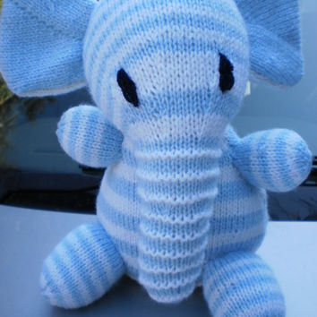 Hand Knitted Elephant Toy Teddy  Plush Hand knitted