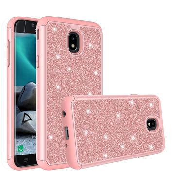 Samsung Galaxy J7 V 2nd Gen, J7 2018, J7 Star, J7 Refine, J7 Aero, J7 Aura, J7 Eon, J7 Pro SM-J730GM/DS, J7 Top, J7 Crown Case, Glitter Bling  Shockproof Hybrid Dual Layer Cover with HD Screen Protector - Rose Gold