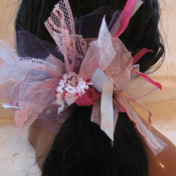 Pony Tail Holder,Lace, Fabric,  Ribbon, Hair Elastic, Ponytail, Shabby Chic, Pretty Princess Bow, Sweet Hair Accessory,  Party Hair Bow