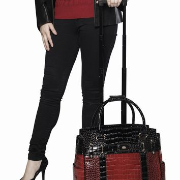 """BATON ROUGE"" Burgundy Red & Black Alligator Rolling Laptop Carryall Bag"