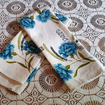 Vintage Linen Dish Towel Pair Teal Blue Carnation Floral Design
