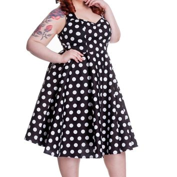 Hell Bunny 60's Black and White Polka Dot Halter Flare Party Dress