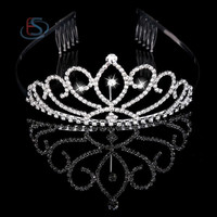 Bridal Princess Austrian Crystal Tiara Wedding Crown Veil Hair Accessory (Color: Silver) = 1932431492