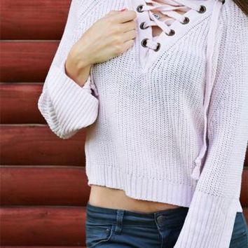 New Women Pink Plain Drawstring V-neck Long Sleeve Casual Pullover Sweater