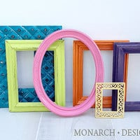Colorful Frames Teen Girl Wall Gallery Upcycled set of 6 Bright Frame Set