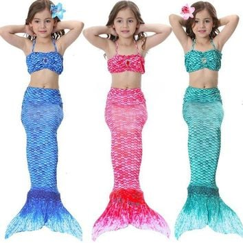 LMFON Sinomart 2017 3pcs Girl's Mermaid Tail Dress Cosplay Costume Fashion Multicolor Children Mermaid Swimsuit Princess Bikini Set
