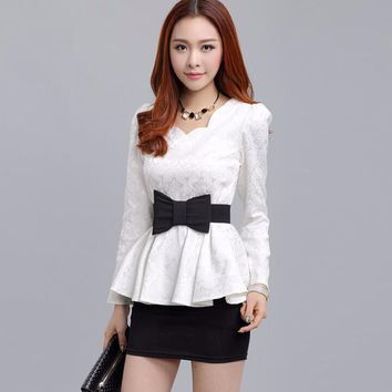 2015 Autumn Winter Korean Fashion White / Black Long Sleeve Lace Blouse Women Casual Tunic Shirt Ladies Elegant Peplum Tops 0494