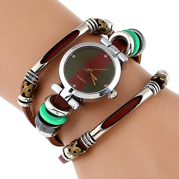 Genuine Leather Watch Women Triple Bracelet Wristwatch Italian Style Green Coffee Stripes Fashion
