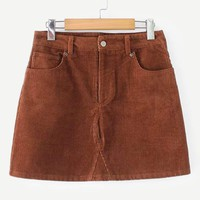 Pocket Detail Corduroy Skirt
