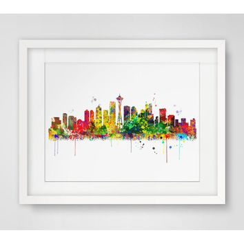 Seattle  Watercolor Skyline Art Print Paper Fine Art Paper Seattle Poster Painting City Skyline Wall Art Wall Hanging Wall Decor
