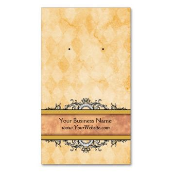 Custom Earring Cards Yellow Vintage Business Cards