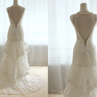 Vintage French Lace Wedding Dress Bridal Gown Deep by wonderxue