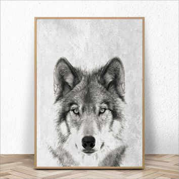 Black And White Wolf Posters And Prints Wall Art Canvas Painting Wild Animal Wolf Wall Pictures Art Decoration