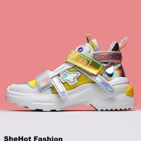 Women Casual Genuine Leather Mesh Mixed Color Low Top Sneakers