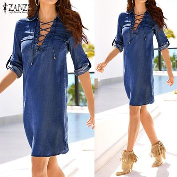 Vestidos 2017 Spring Autumn Retro Solid Denim Mini Dress ZANZEA Women Casual Loose Lapel Long Sleeve Lace Up Dresses Plus Size