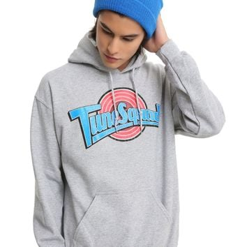 Licensed cool Space Jam  Looney Tunes Tune Squad Grey Hoodie Hoody Sweatshirt Hot Topic Mens L