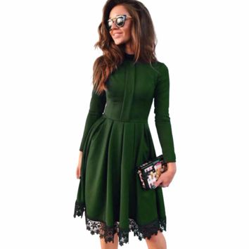 2017 Spring Summer New Fashion Women Sexy Long Sleeve Slim Maxi Dresses Green Party Hot Green Dresses