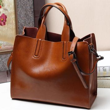 Genuine leather Oil wax cowhide women's shoulder bag soft leather cross-body bags free shipping