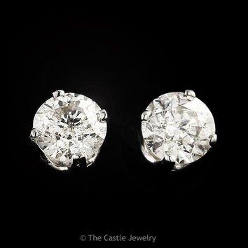 .50ctw Round Diamond Stud Earrings in 14k White Gold Post Backs with Butterfly Closures