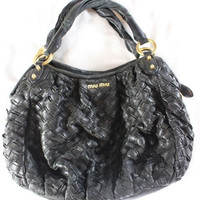 "~~~ INSTANT-COOL-GIRL-STATUS ~~~ MIU MIU / PRADA BLACK ""WOVEN"" LEATHER TOTE BAG"
