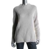 Lord & Taylor Womens Wool Cashmere Blend Ribbed Knit Pullover Sweater
