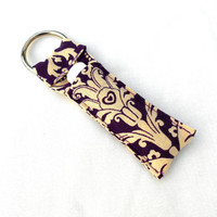 Purple Damask Chapstick Keychain - Peacock Orange Green Blue Feather Lip Balm Holder Cozy