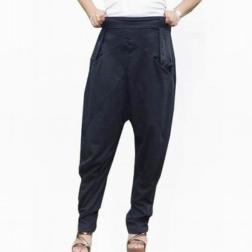 Ninja Pants Gaucho High Fashion,Unisex, Ribbed Cotton,Black Colour..