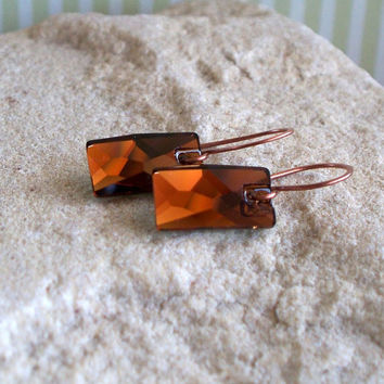 Bold Smoked Topaz And Copper Earrings