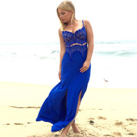 Lacey Dreams Maxi Dress In Royal Blue