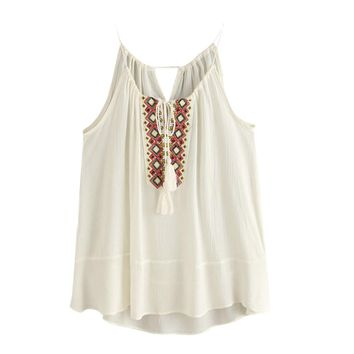 New Women Neck Embroidered Cami Summer Tops