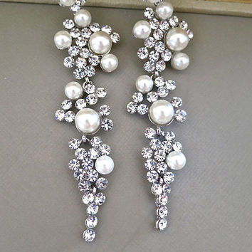 Bridal Chandelier Earrings Rhinestone Ivory Pearl Crystal Wedding Stud Accessories Dangle Long Silver Jewelry