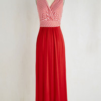 Americana Long Sleeveless Maxi Adore County Dress in Red Stripes