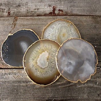 Set of Four Gold Rimmed Agate Coasters