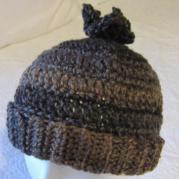 Crochet Hat /Brown Tweed with tassel !!!For The Next Month All Hats Are On Sale For 12.00 Yeah!!!