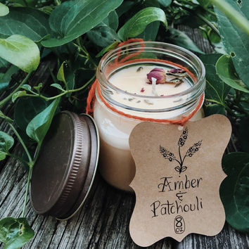 Hand Poured Soy Candle / Amber Patchouli / 8 oz / All Natural Cotton Wick Candle