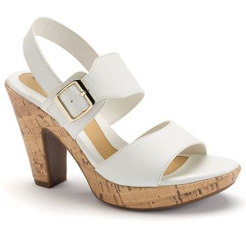 sole (sense)ability Women's Slingback Platform Comfort Dress Heels (White)