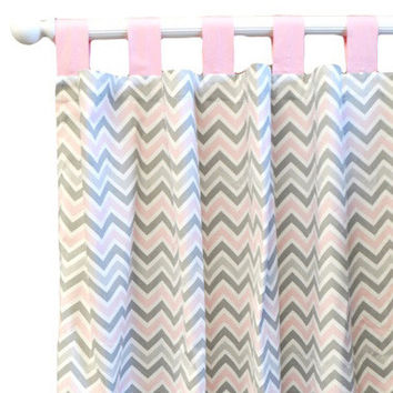 Pink & Gray Chevron Nursery Curtains Peace, Love & Pink Collection