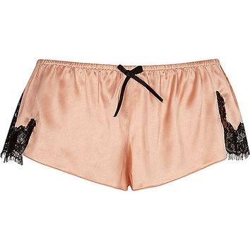 Pink satin lace pyjama shorts