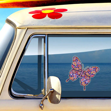Blue Paisley Butterfly Decal - Colorful Car Decal Vinyl Bumper Sticker Hippie Boho Laptop Decal Pink Blue Yellow Green Cute Car Decal