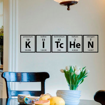 Wall Decals Periodic Table Elements Lettering Home Decor for Kitchen M008