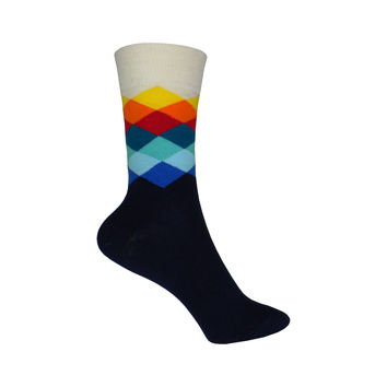Faded Diamond Crew Socks in Navy