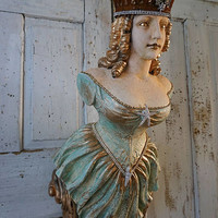 Ship figurehead wall hanging shabby cottage chic painted distressed ocean bow maiden ornate embellished rhinestone crown anita spero design