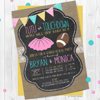 Gender Reveal Invitations, touchdown or tutu, football, gender announcement, lace, country rustic, burlap, chalkboard, gender neutral